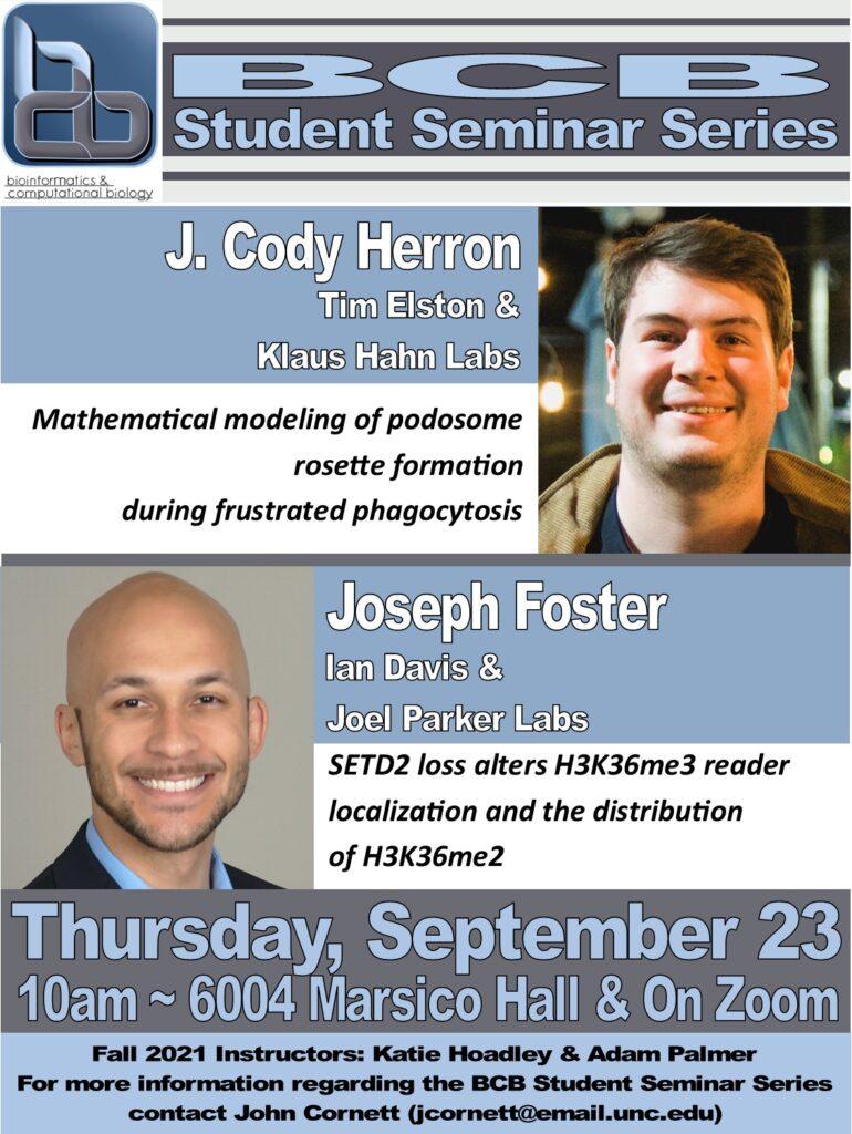 BCB Student Seminars_21 0923 Herron and Foster